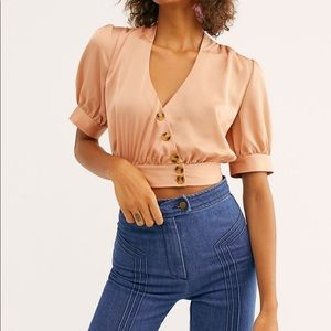 Free People Dusty Peach 🍑 Button Down Crop